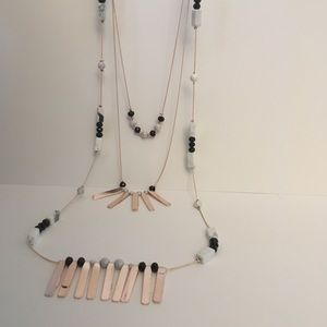 NWT Triple layer necklace gold, black, white